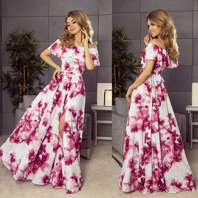 194-2 Off The Shoulder Floral Maxi Dress In White/Pink