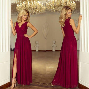166-3 Chiffon Slit Maxi Dress In Burgundy