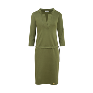 161-2 Drawstring Waist Knee-Length Dress In Khaki-Green