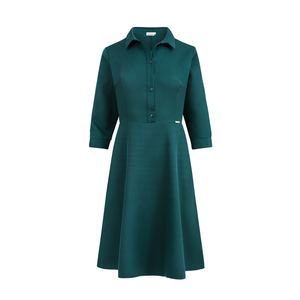 286-1 Knee-Length Shirt Dress In Green