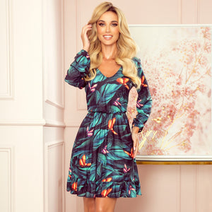 320-1 Ruffle Hem Butterfly Print Mini Dress In Green