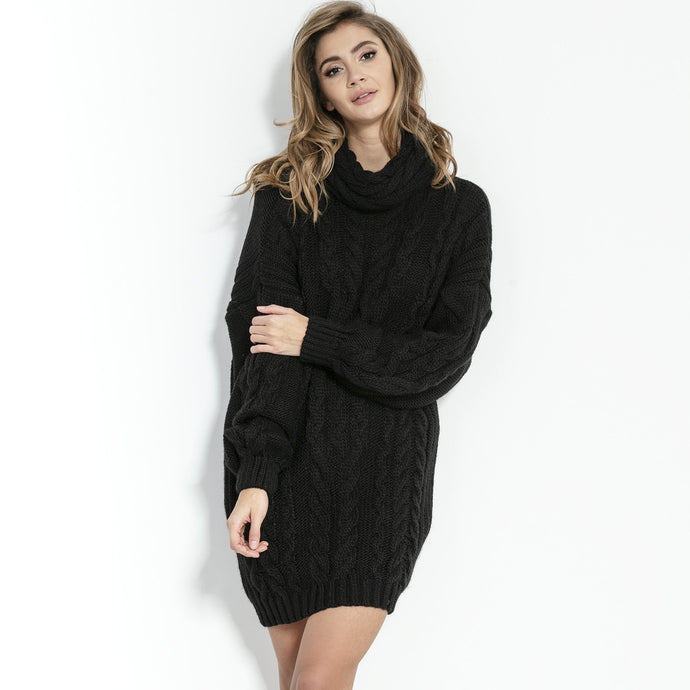 F860 Turtle Neck Jumper Dress In Black