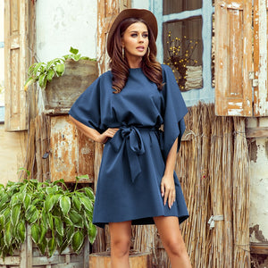 287-7 Butterfly Style Belted Mini Dress In Blue