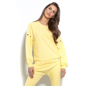 F940 Cotton-Blend Sweatshirt With Ring Detail In Lemon-Yellow