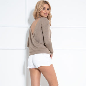 F1042 Oversized Backless Sweater In Brown