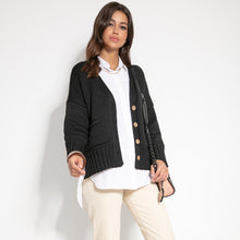 F1063 Recycled Knit Front Pocket Short Cardigan In Black