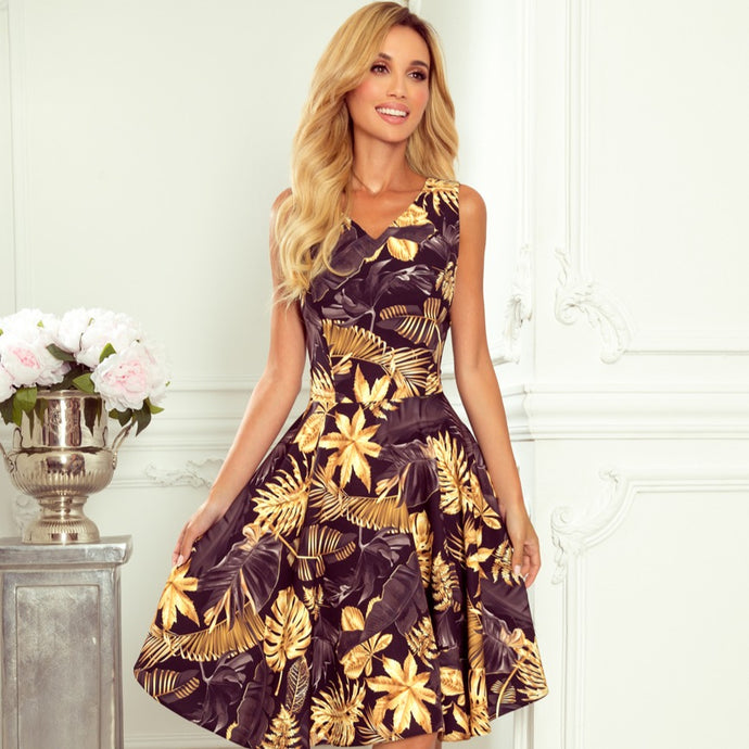 114-13 Fit & Flare Leaf Print Mini Dress In Black-Yellow