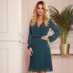 313-1 Chiffon Pleated Midi Dress In Bottle Green
