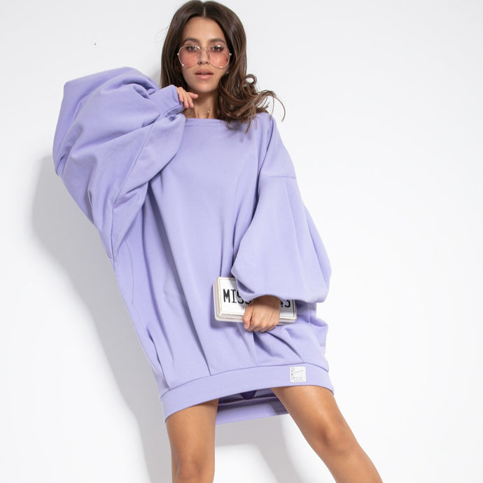 F1126 Cotton-Blend Volume Sleeve Sweatshirt Mini Dress In Purple