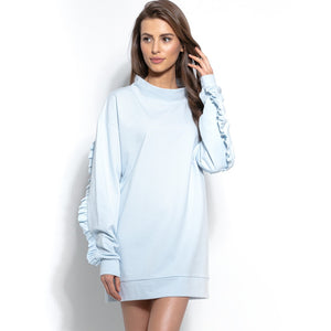 F933 Cotton Long Sweatshirt Tunic With Frill Detailing In Blue