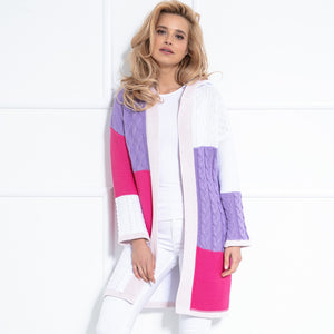 F1032 Hooded Long Cardigan In White