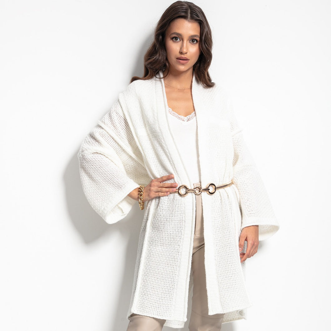 F1083 Oversized Longline Knit Cardigan With Wide Sleeve In Ecru
