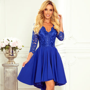 210-12 High-Low Lace Bodice Dress In Blue