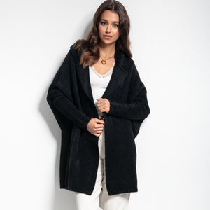F1084 Oversized Longline Hooded Fluffy Knit Cardigan In Black