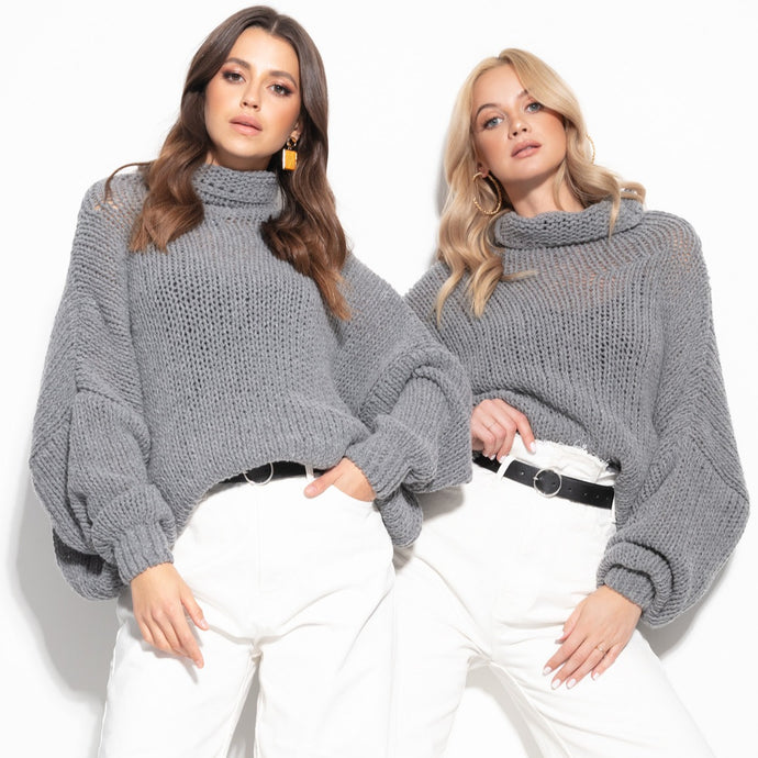 F1128 Merino-Wool Turtleneck Sweater In Grey