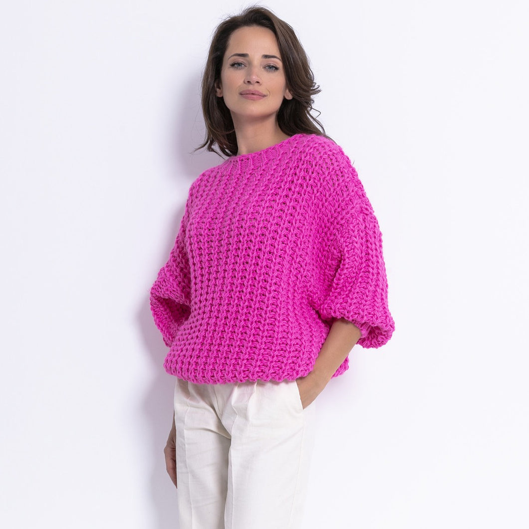 F772 Chunky Knit Oversized Jumper In Pink