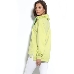 F942 High-Neck Cotton-Blend Sweatshirt In Lime