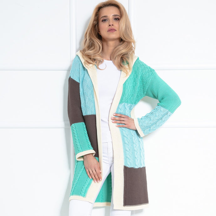 F1032 Hooded Long Cardigan In Green