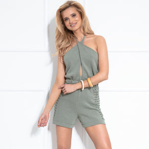 F1037 Backless Playsuit In Olive