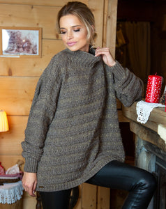 F610 High-Neck Alpaca-Blend Glitter Oversize Sweater In Brown