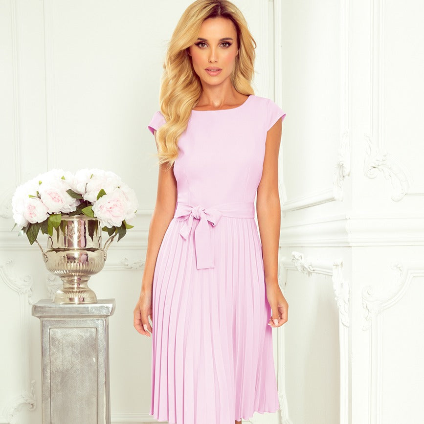 311-6 Pleated Belted Midi Dress In Light Purple