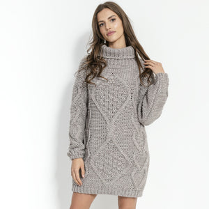 F859 Alpaca-Blend Jumper Mini Dress In Beige