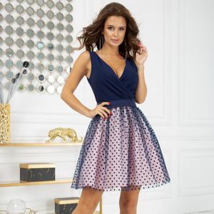 2217-11 Fit & Flare Tulle Belted Mini Dress In Navy-Pink