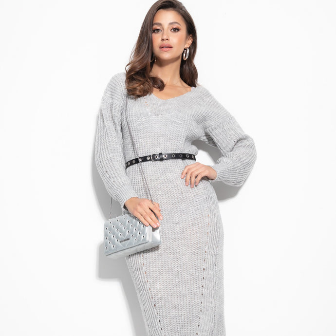 F1101 Oversized Ribbed-Knit Sweater Midi Dress In Grey