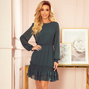 336-2 Chiffon Ruffled Mini Dress In Bottle Green