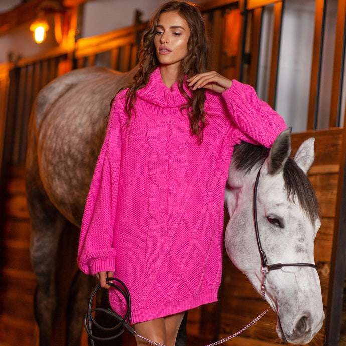 F844 Roll Neck Oversized Jumper Dress In Pink