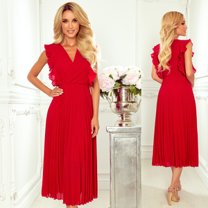 315-3 Chiffon Pleated Midi Dress In Red