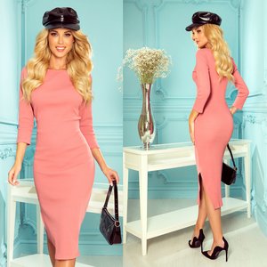 331-3 Cotton-Blend Bodycon Midi Dress In Dusty Pink