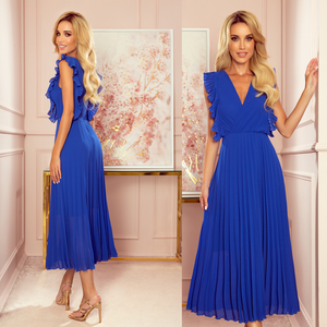 315-2 Chiffon Pleated Midi Dress In Royal Blue
