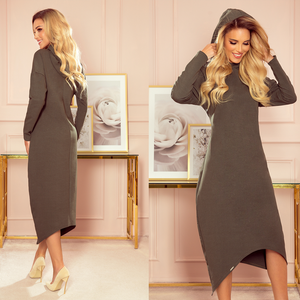 333-2 Hooded Sweatshirt-Style Midi Dress In Khaki-Green