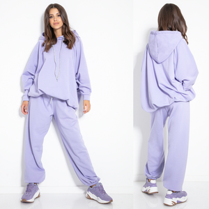 F1078 Two Pieces Cotton-Blend Hooded Sweatshirt & Track Pants In Purple