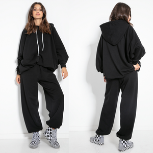 F1078 Two Pieces Cotton-Blend Hooded Sweatshirt & Track Pants In Black