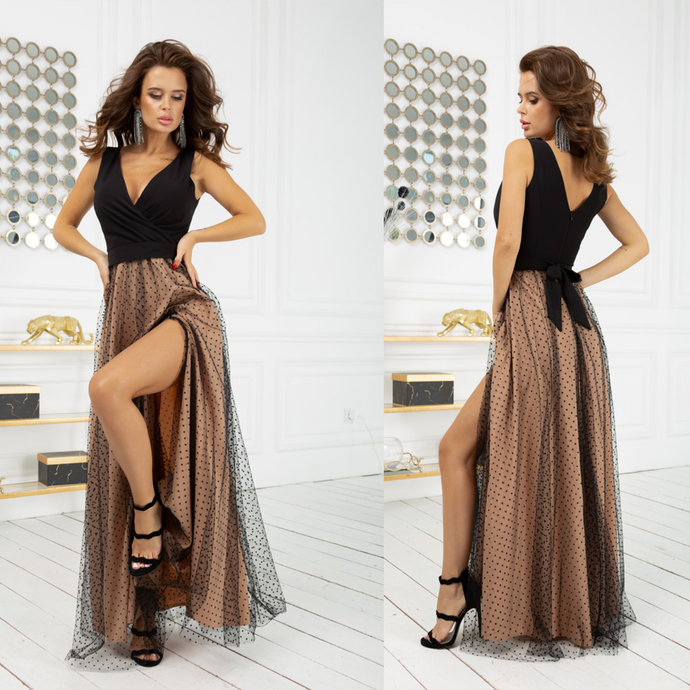 2218-16 Tulle Belted Slit Maxi Dress In Black-Beige