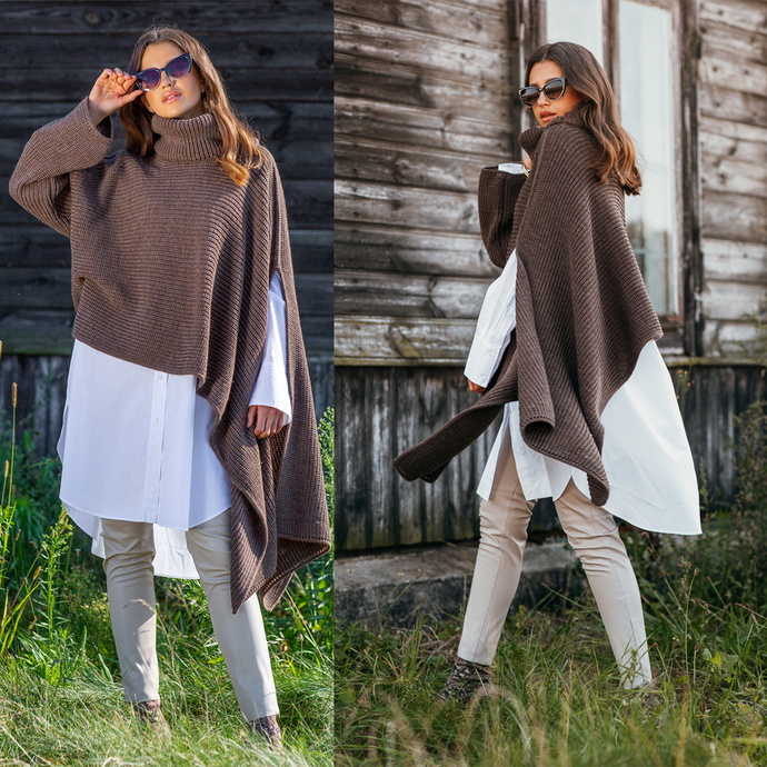 F1098 Oversized Asymmetric Turtleneck Sleeve Poncho In Brown
