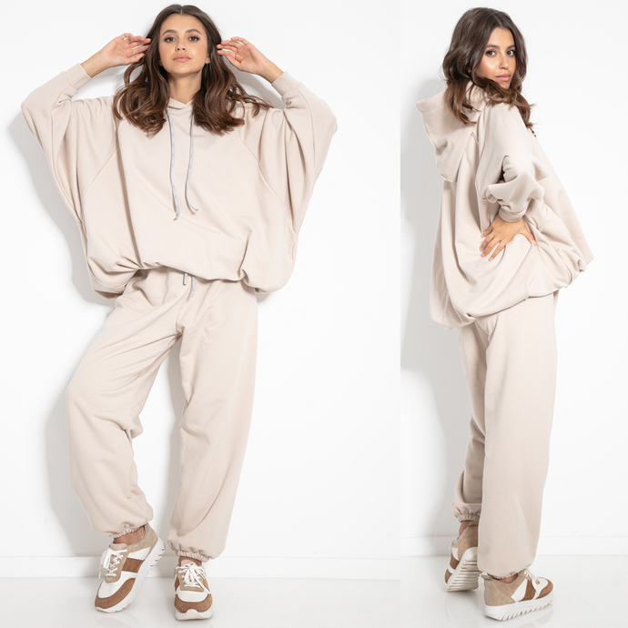 F1078 Two Pieces Cotton-Blend Hooded Sweatshirt & Track Pants In Beige