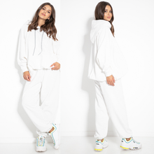 F1078 Two Pieces Cotton-Blend Hooded Sweatshirt & Track Pants In Ecru