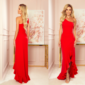 317-1 One Shoulder Maxi Dress In Red