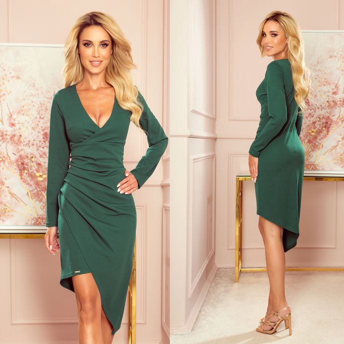 290-2 Asymmetric Wrap Detailing Dress In Bottle Green