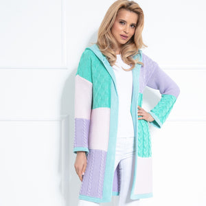 F1032 Hooded Long Cardigan In Blue