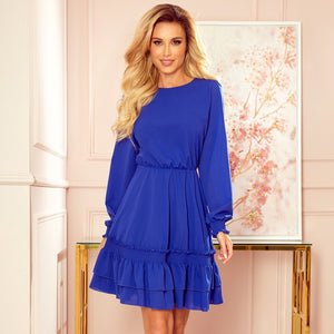 336-1 Chiffon Ruffled Mini Dress In Royal Blue