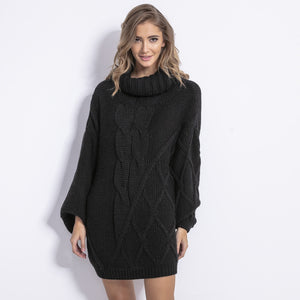 F844 Roll Neck Oversized Jumper Dress In Black