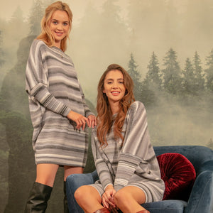 F1153 Wool-Blend Oversize Stripe Jumper Mini Dress In Grey