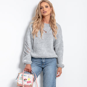 F1054 Oversized Chunky Knit Jumper In Grey