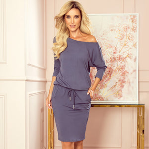 13-90 Drawstring Waist Knee-Length Dress In Grey