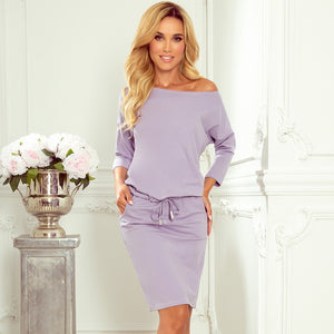 13-118 Drawstring Waist Midi Dress In Light Purple