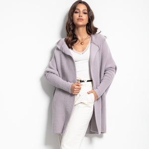 F1084 Oversized Longline Hooded Fluffy Knit Cardigan In Purple